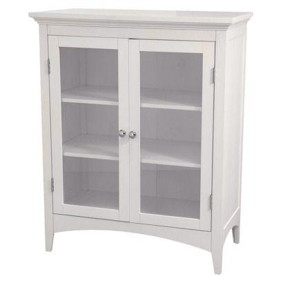 Madison Avenue 2 Door Floor Cabinet White Elegant Home Fashions Glass Cabinet Doors Bathroom Floor Cabinets Cabinet Door Styles