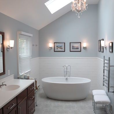 The Wall Color Is Krypton Sw6247 By Sherwin Williams Bathroom Wall Colors Bathroom Paint Colors Modern Bathroom