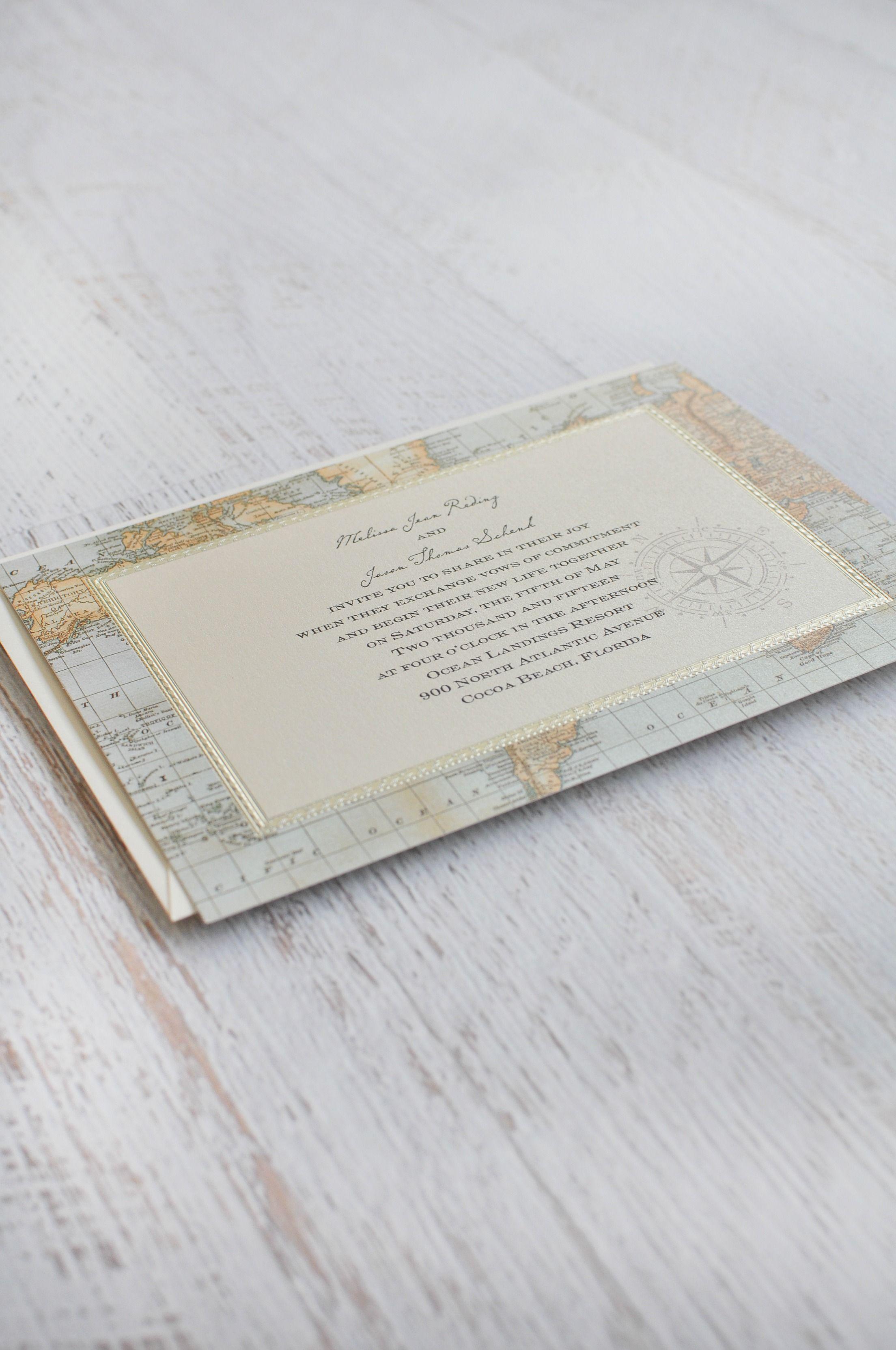 Antique World Map - Invitation | Destination wedding, Wedding themes ...