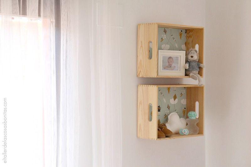 Caja de madera empapelada kids diy estanter a para - Estanteria pared infantil ...