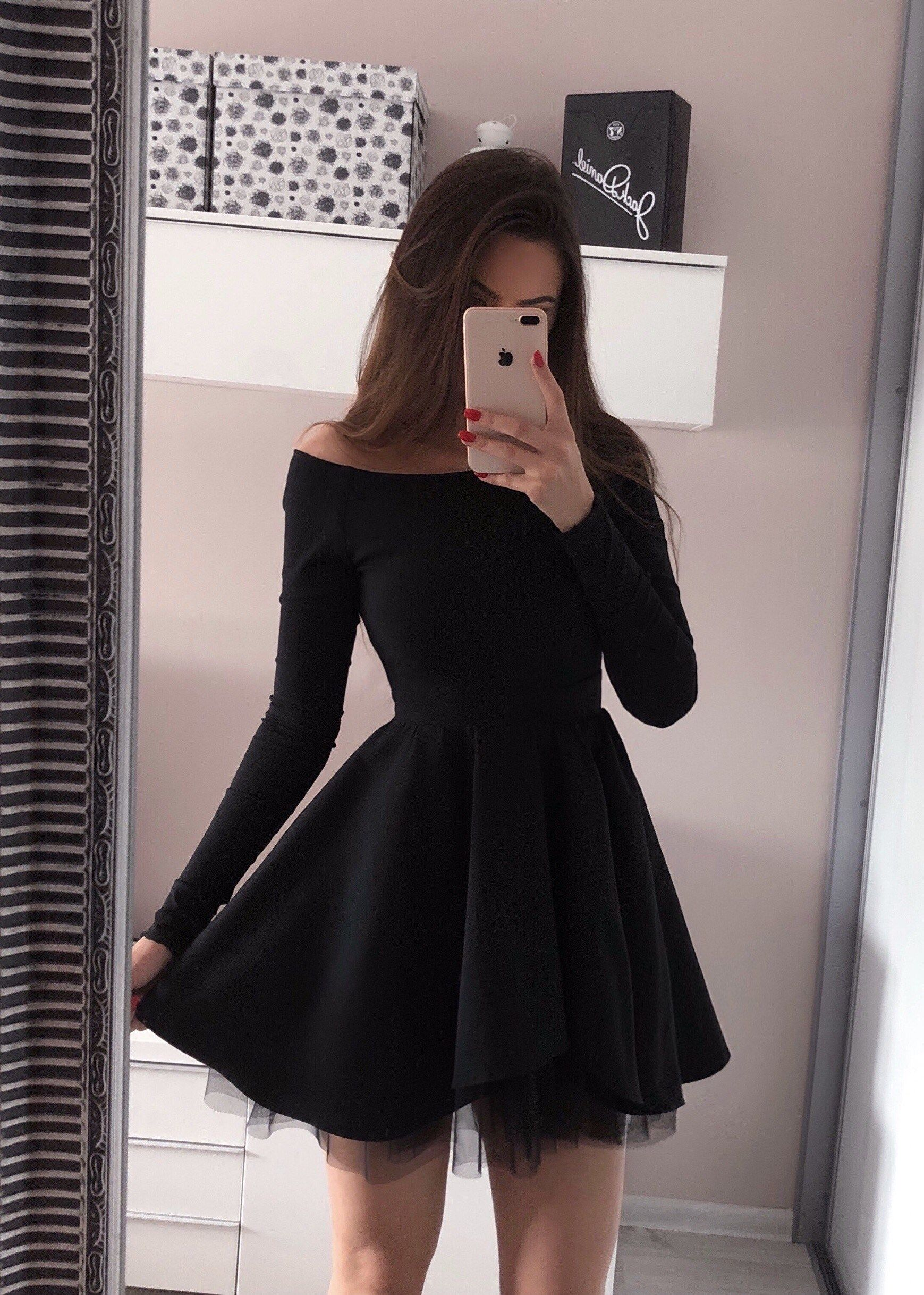 Long sleeve black homecoming dresses off the shoulder short black