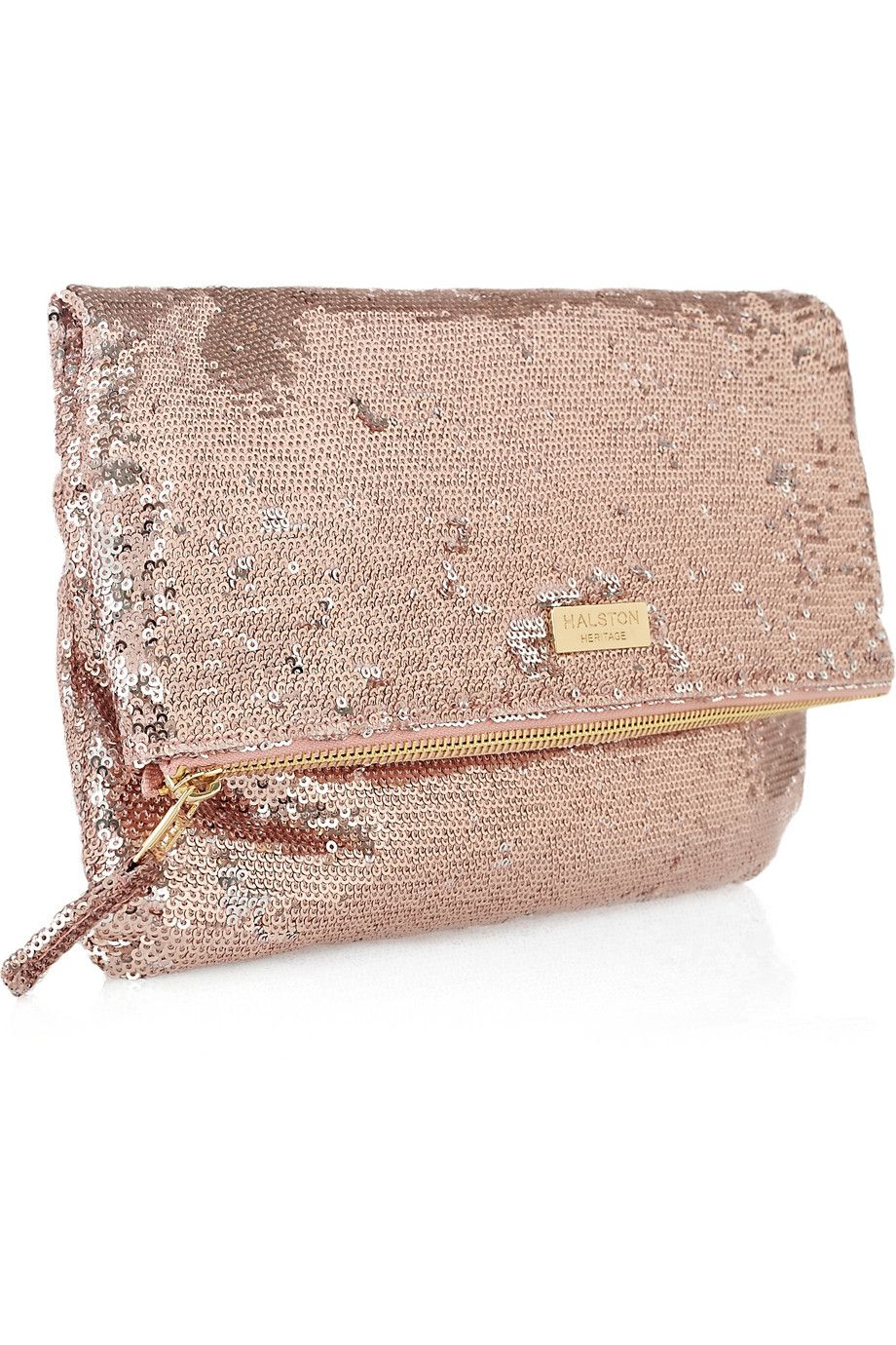 This rose gold sequin clutch would be perfect with a pair of jeans ...