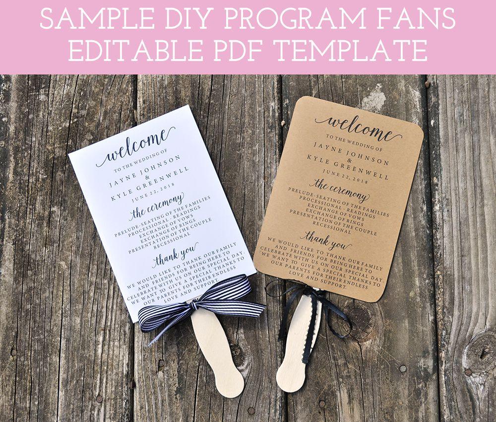 Wedding program fan template printable fan wedding programs diy