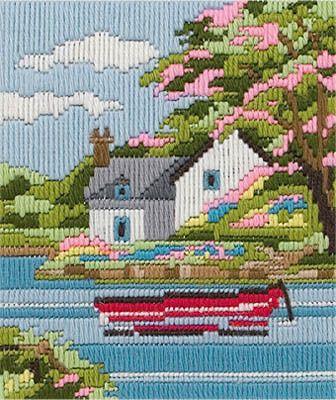 Cross Stitch Project Kit Ribbons and Stitches Craft Kit Garden Scene Needlepoint Kit
