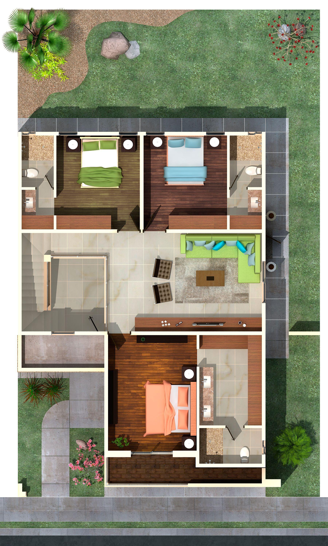 Planta alta casa de sue os en 2019 casas prefabricadas for Planos de casas pequenas de una planta