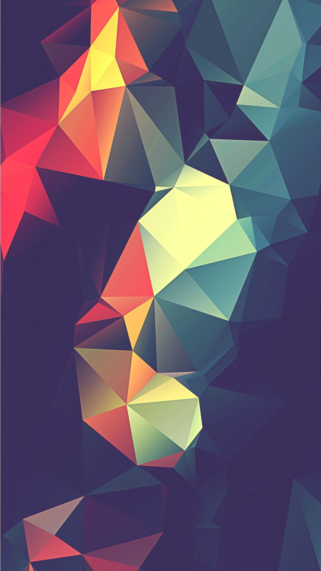 Colorful retro polygon abstract iphone wallpaper
