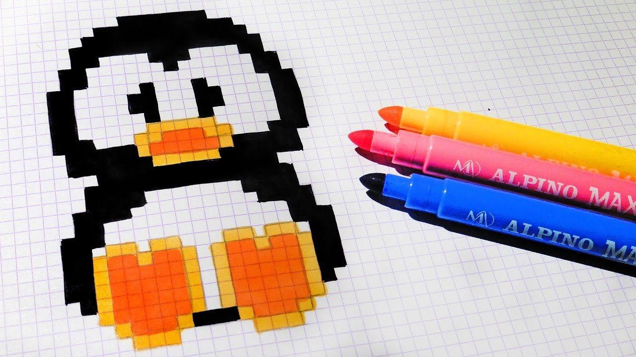 handmade pixel art  how to draw kawaii penguin pixelart