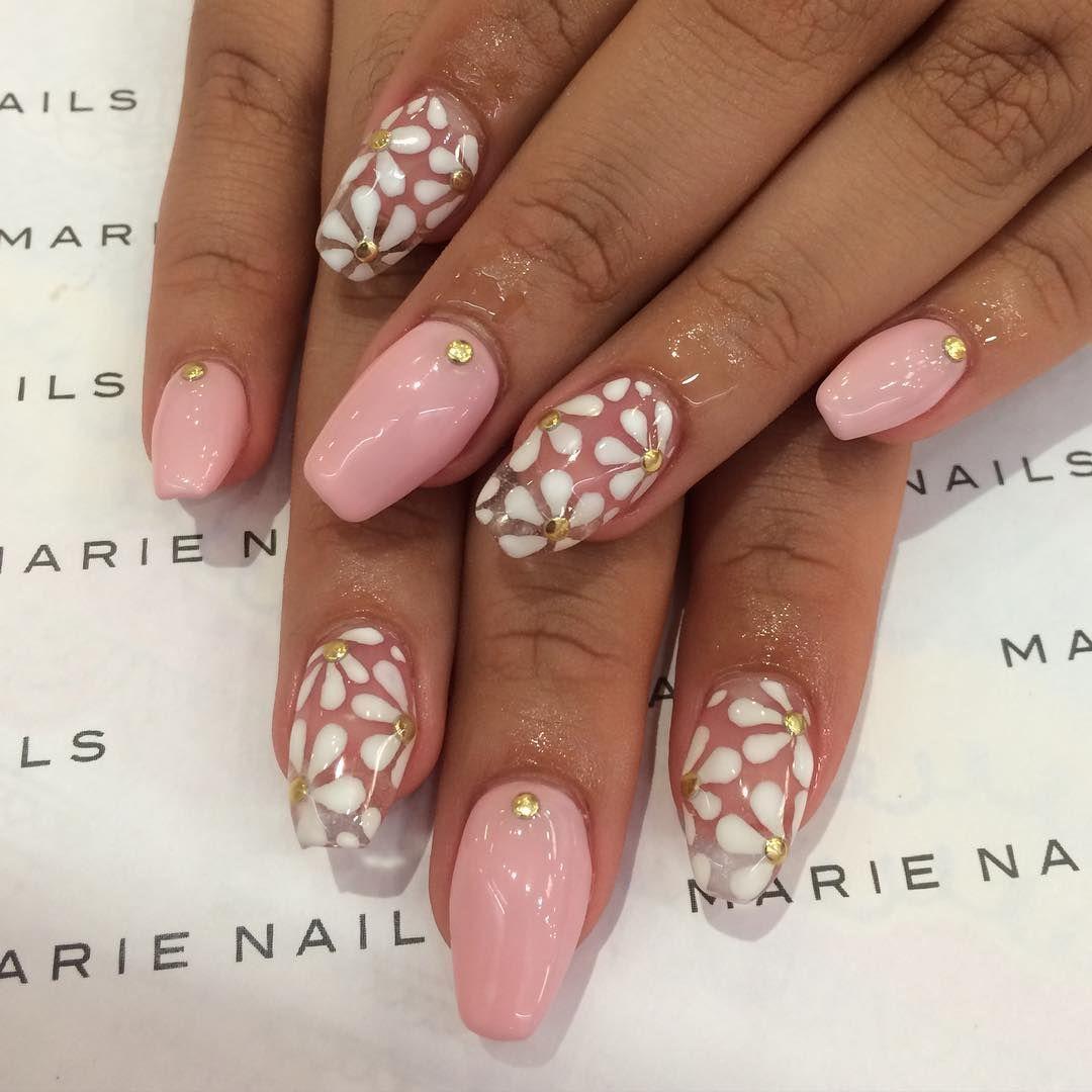 White Flowers Design Nails For Fall | Nail Art | Pinterest | Fall ...