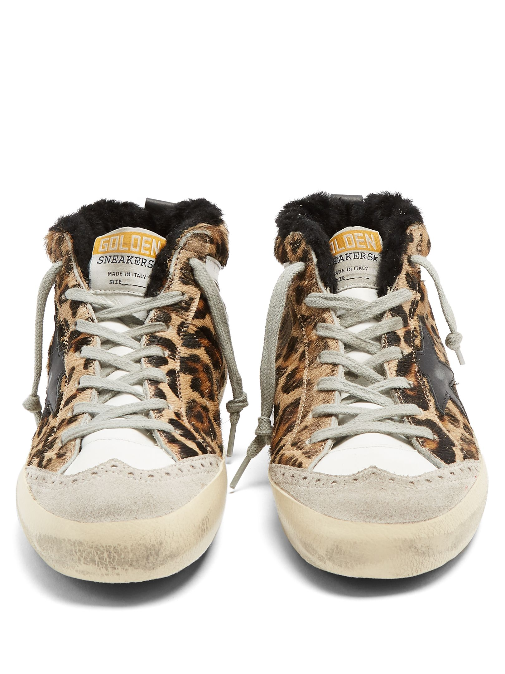 478ff43c8a88d Golden Goose Deluxe Brand Mid Star leopard-print shearling-lined trainers  at MATCHESFASHION.
