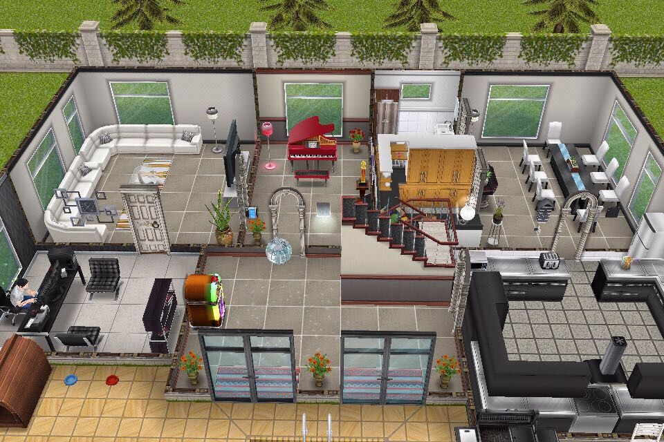 House 3 / 2nd building / ground floor plan | the sims | Pinterest ...