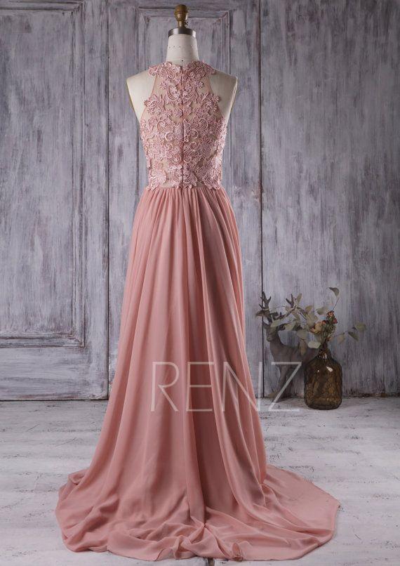 2017 Blush Bridesmaid Dress Lace Transpa Wedding Dusty Pink Dresses Bridesmaids