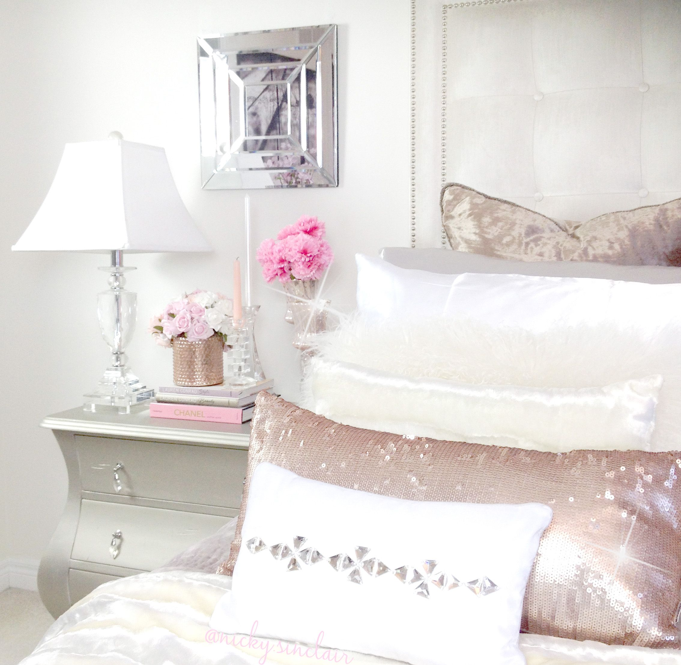 Feminine Glam Bedroom By Nicky Sinclair Via Ig - @
