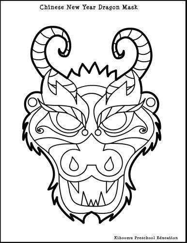 dragon masks to color dragon mask colouring pages chinese