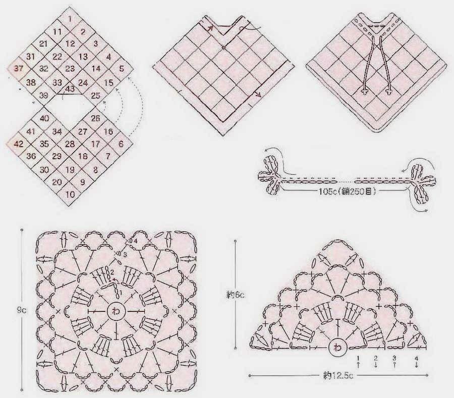 Patron Poncho de crochet-shawls.blogspot.com | poncho | Pinterest ...
