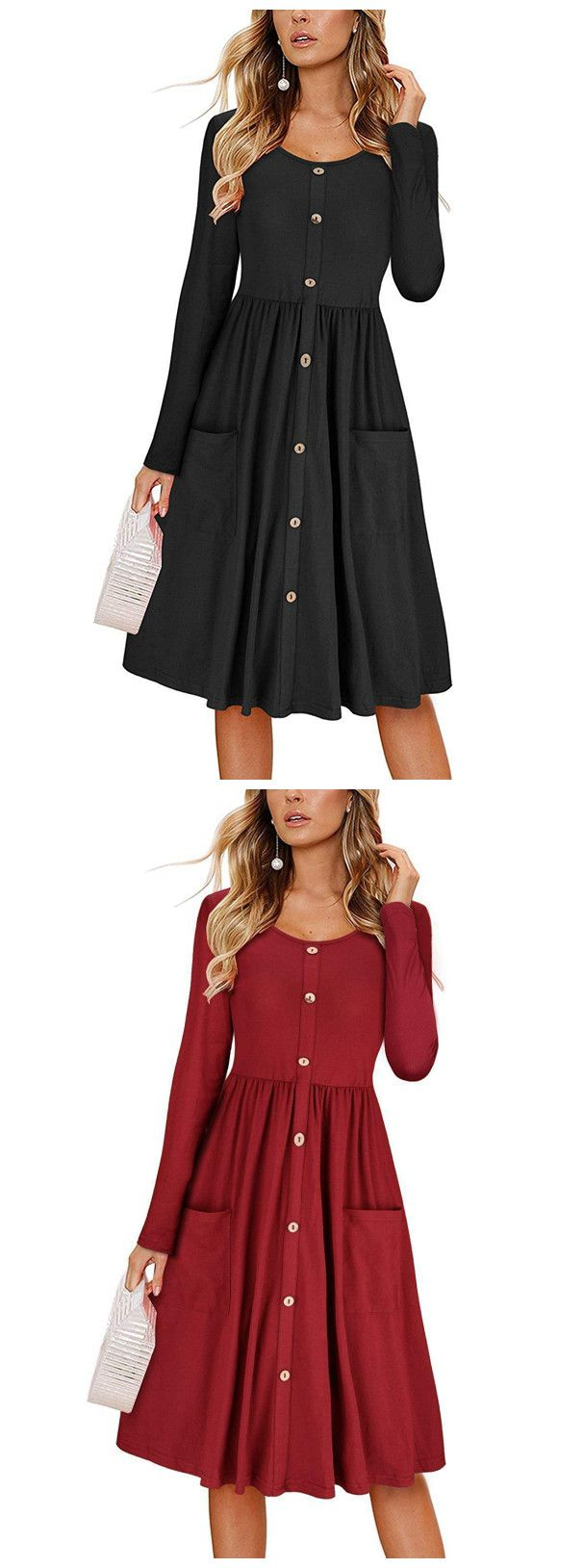 Casual round neck long sleeve high waist button down dress with