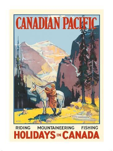 Travel Canadian Pacific 1950s Vintage Style Railroad Travel Poster 16x24