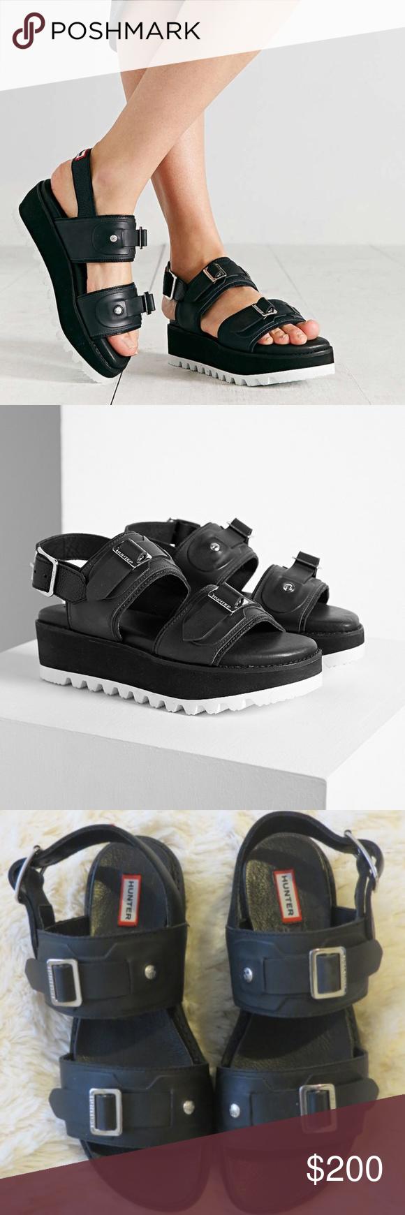 Hunter Leather Mid Platform Sandals