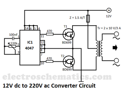 12v To 220v Converter Circuit Circuit Diagram Electronic Engineering Electronics Circuit