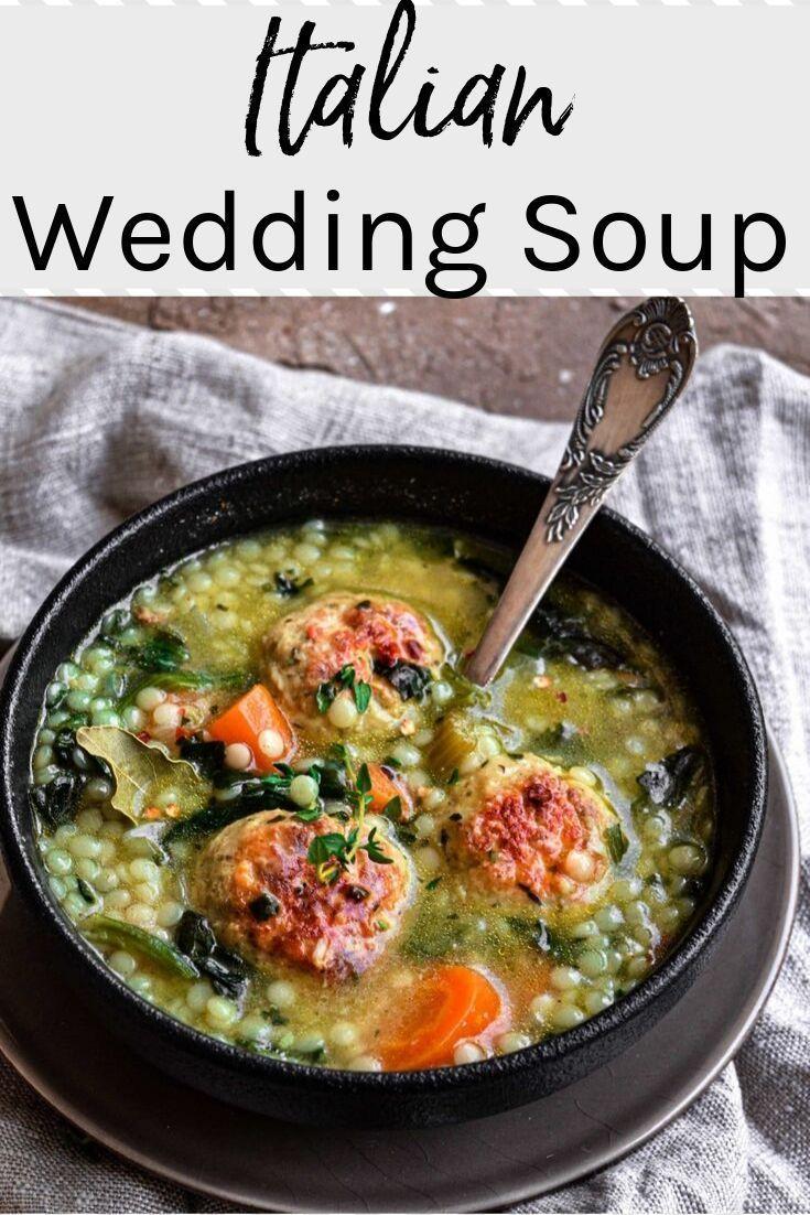Italian Wedding Soup with Chicken Meatballs Recipe in