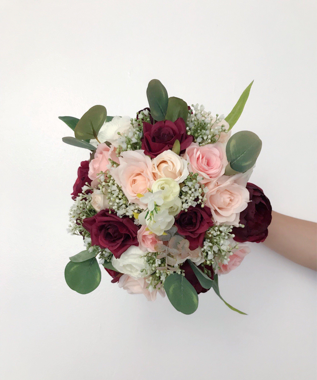 Set of 5 Bridesmaids Bouquets, Burgundy Bouquet, Boho