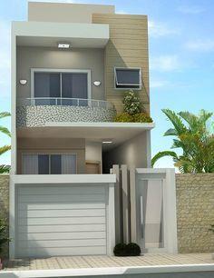 Fachada de sobrado pequeno terreno pinterest for Fachada apartamentos pequenos