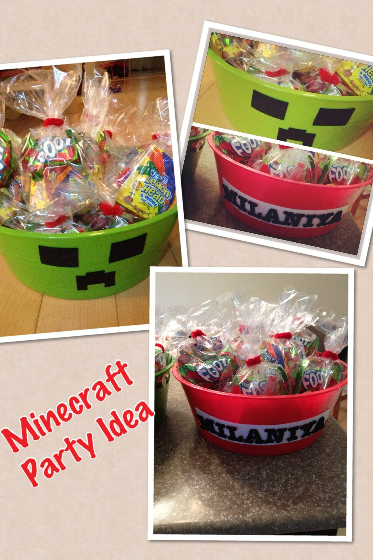 DIY Minecraft party idea Dollar Tree containers and adhesive fabric