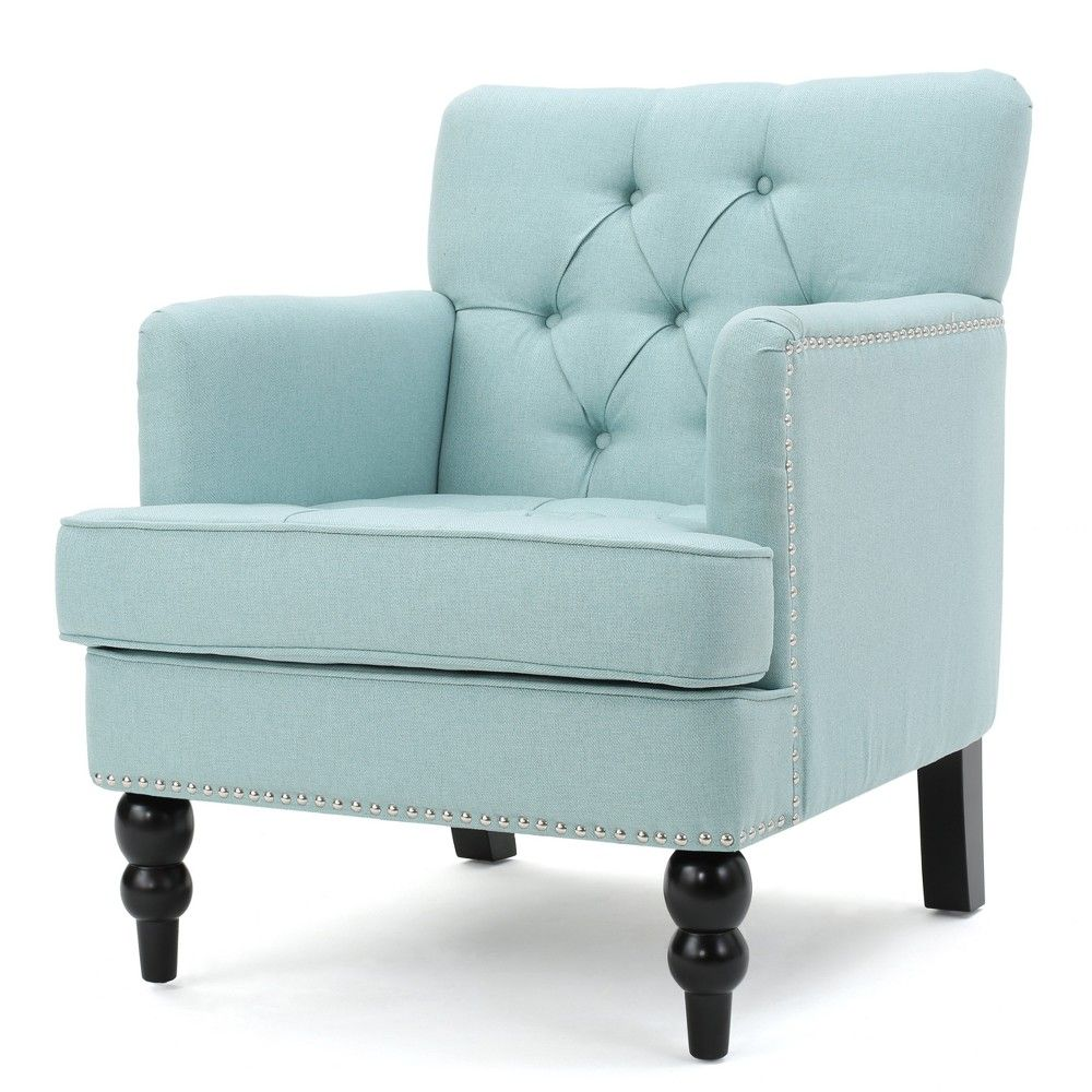 Malone Club Chair Light Blue Christopher Knight Home Club