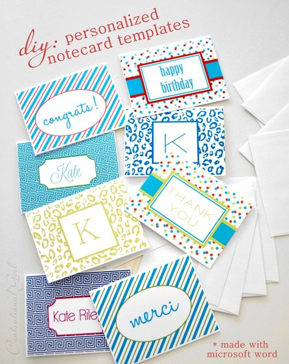 diy personalized notecard templates (make these with Microsoft - free thank you card template for word