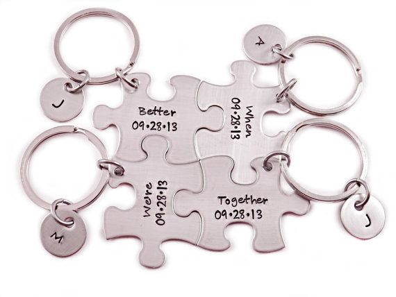 engraved puzzle piece keychain