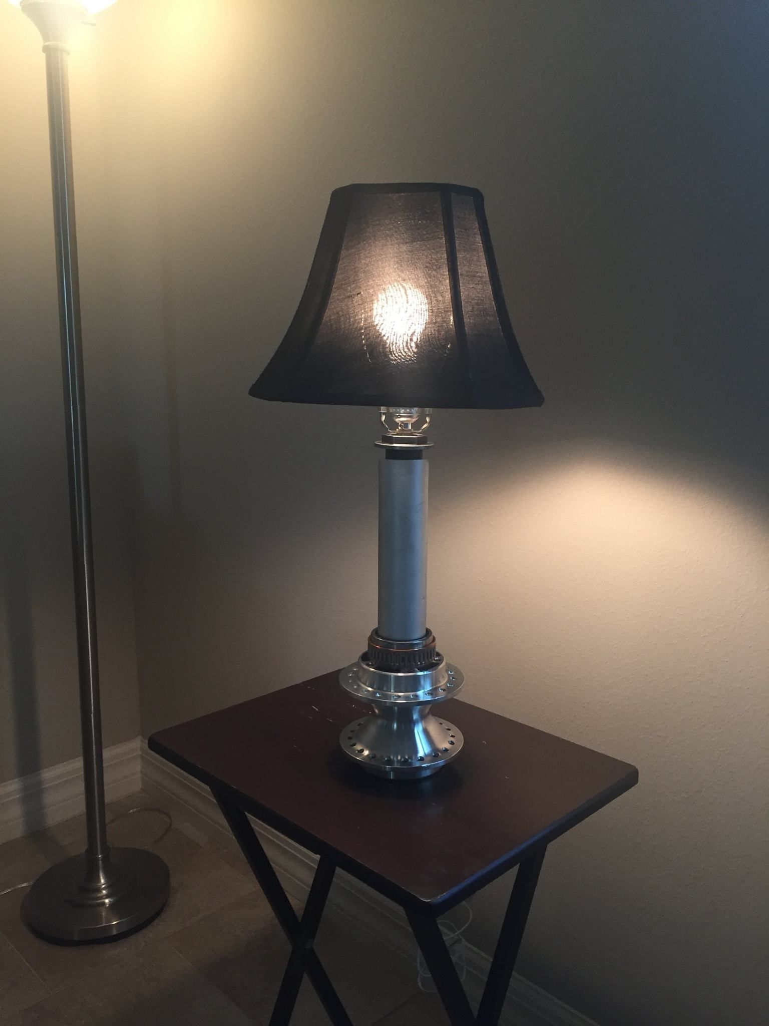 Table Lamp Made From Harley Davidson Wheel Center Hub, Harley Exhaust  Shield, Drivetrain Needle