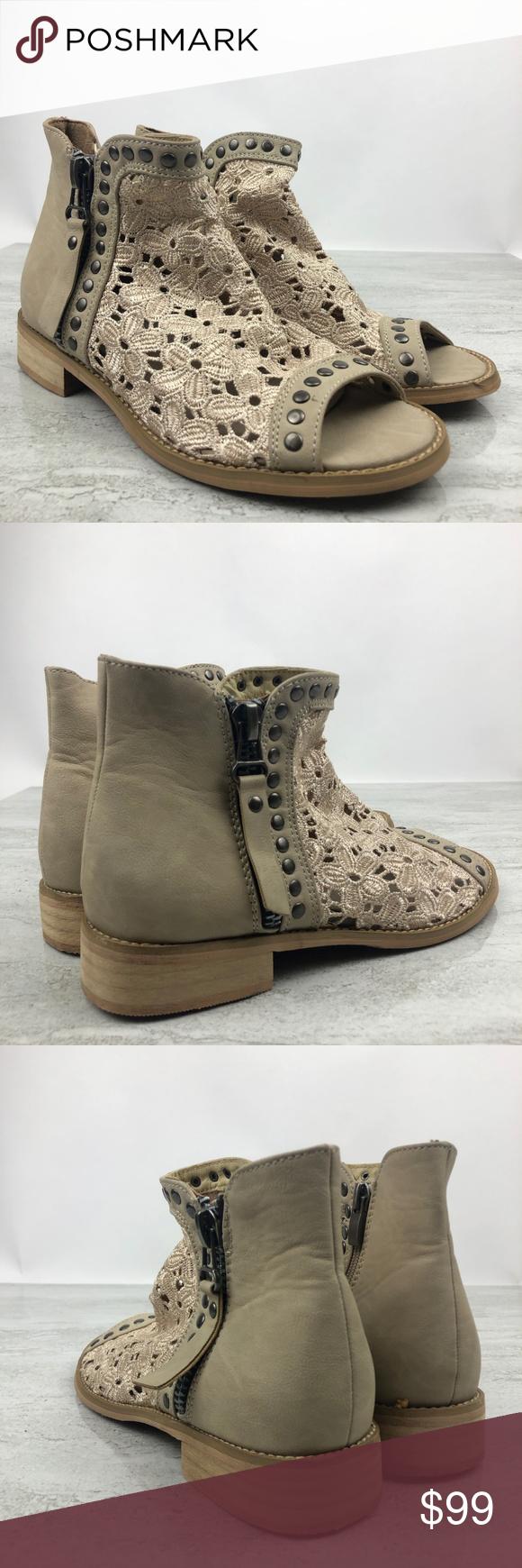 Vanessa Wu Cream Lace Peep Toe Ankle Boots - TK Maxx