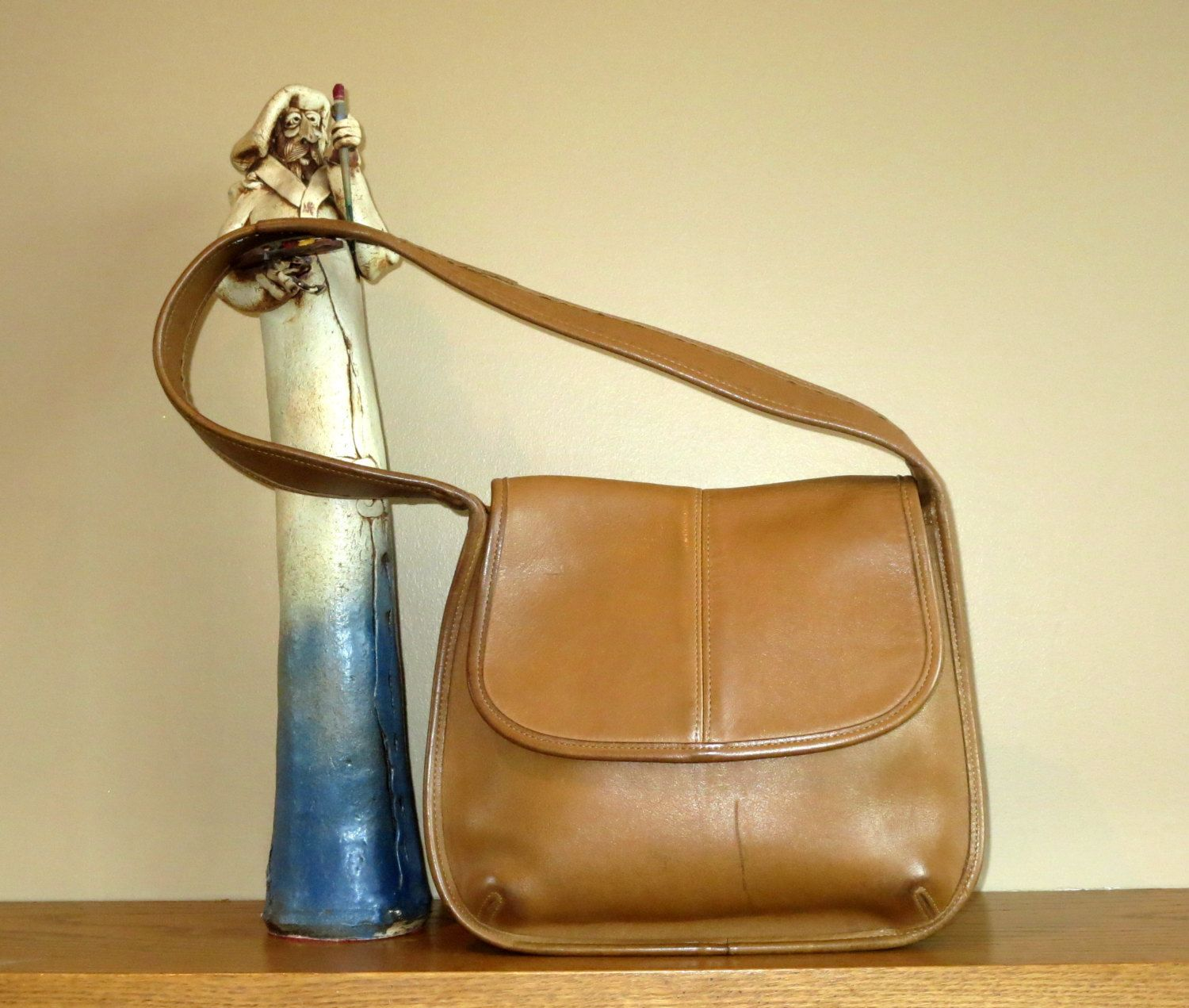 Coach Ergo Flap Tan Leather Shoulder Bag Style No. 9034- Made In U.S.A. by
