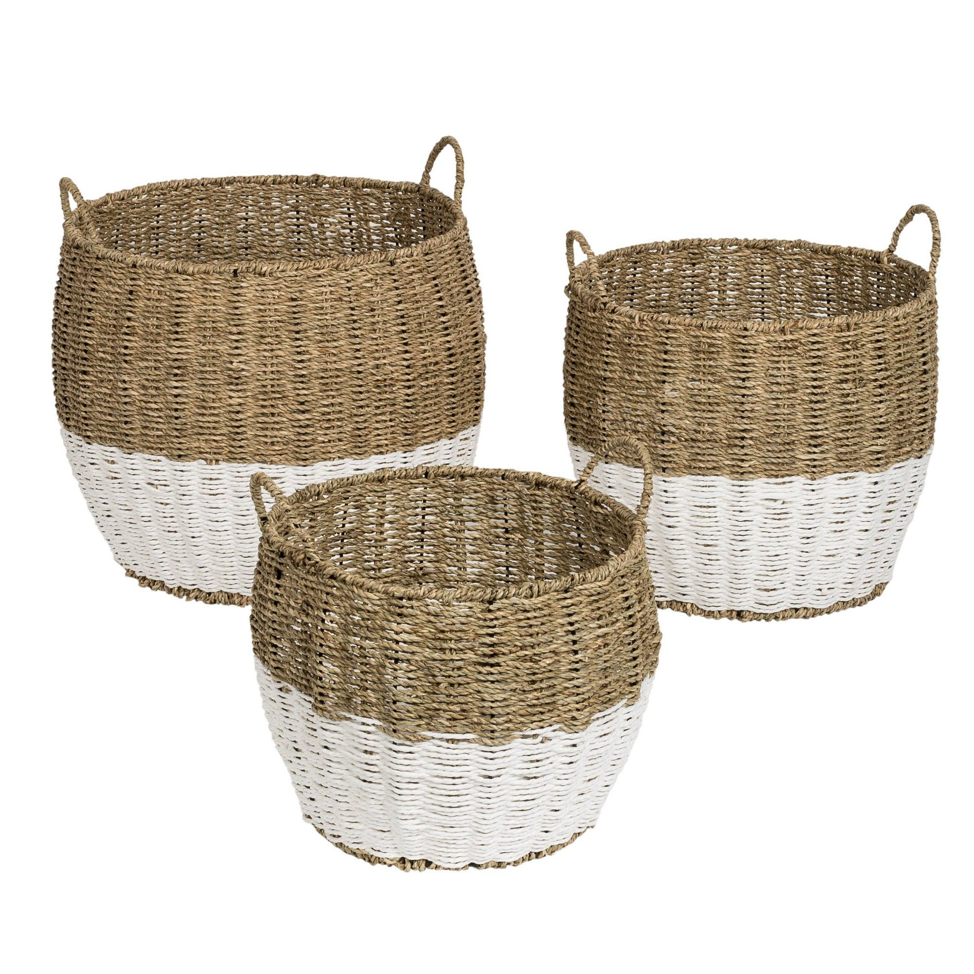 Honey Can Do 3pc Nested Round Baskets Light Brown Seagrass