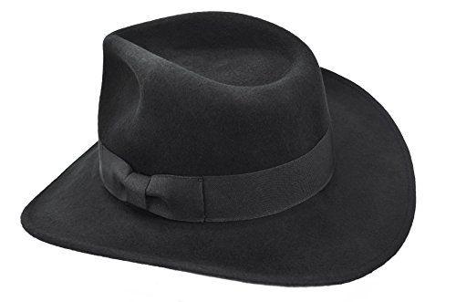 093026fdce5 Mens Wool Crushable Indiana Jones Outback Safari Fedora Cowboy Western Hat  Black