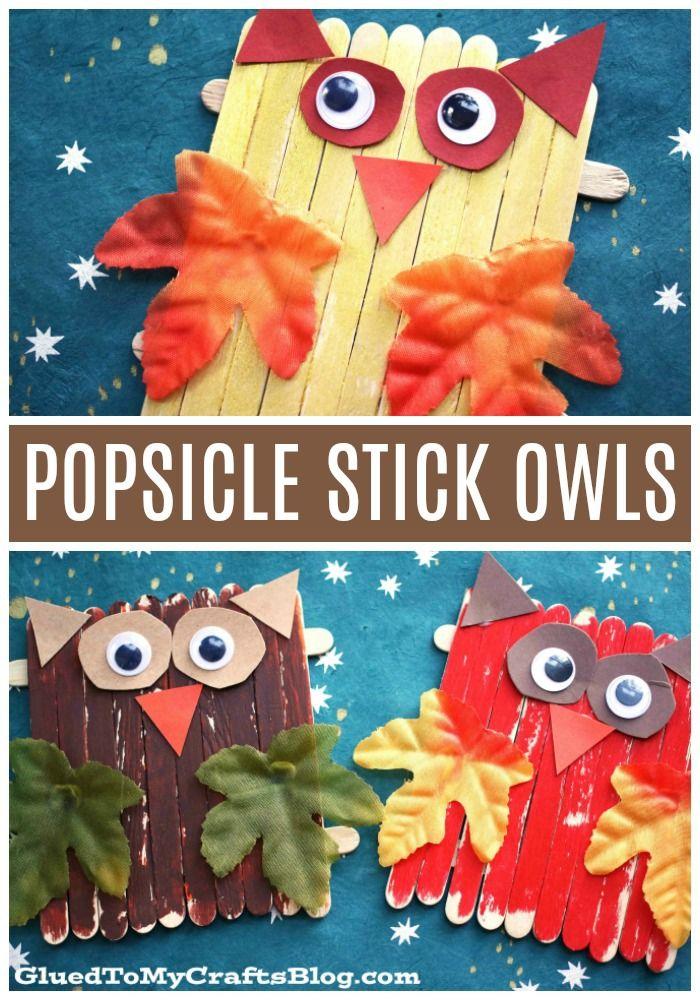 #gluedtomycrafts Popsicle Stick Owls - Kid Craft Idea For Fall