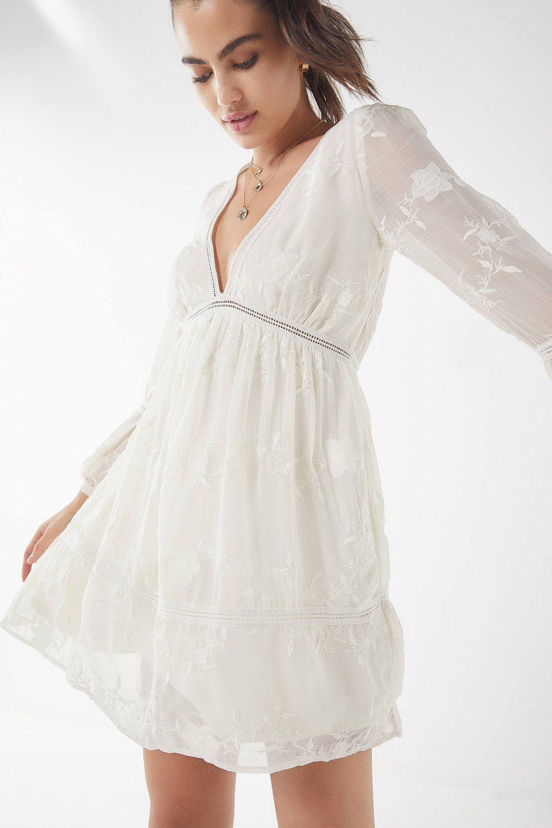 76566fcab2 UO Clara Embroidered Empire-Waist Dress in 2019