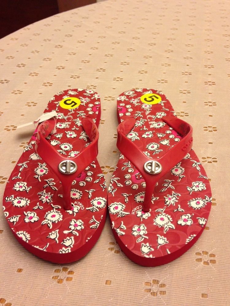 33eb6fc632bd COACH Womens ABBIGAIL Red Flip Flops Size 5-6  fashion  clothing  shoes