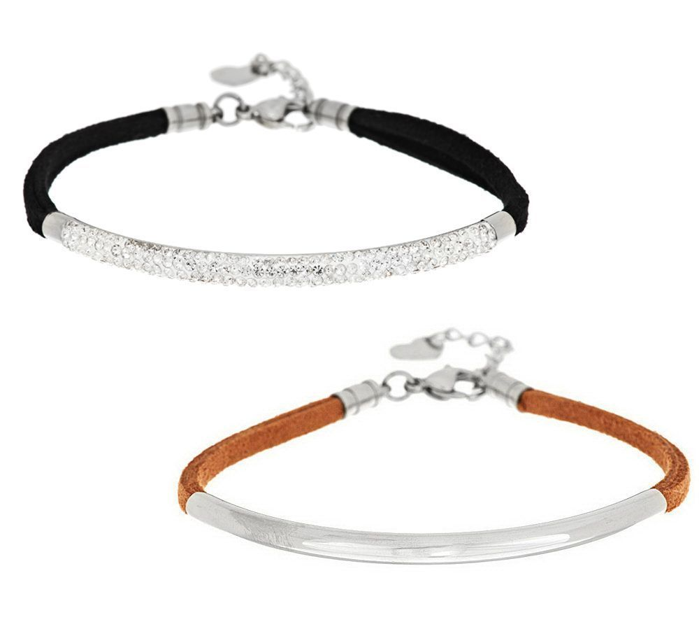 Stainless Steel Set of 2 Faux Suede Bracelets with Crystal Accent 477U #SteelbyDesign #Fashion