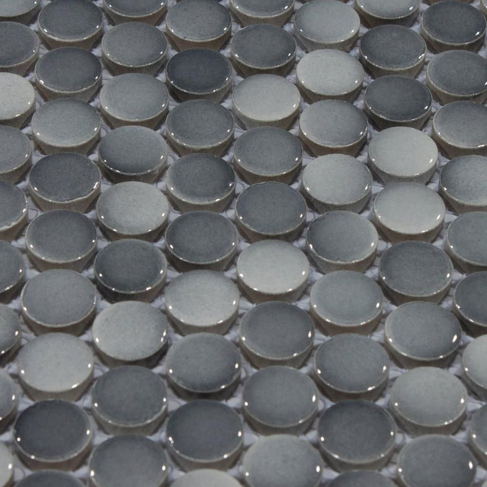 Dark Gray Ii Penny Porcelain Mosaic 10in X 12in 100104652 Floor And Decor