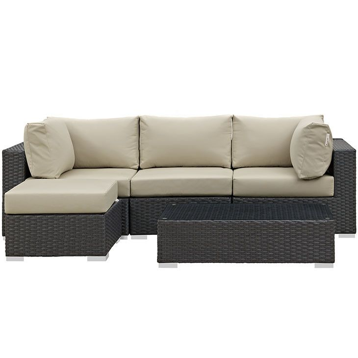 Perfect Modway Furniture Modern Sojourn 5 Piece Outdoor Patio Sectional Set In  Sunbrella EEI 1890