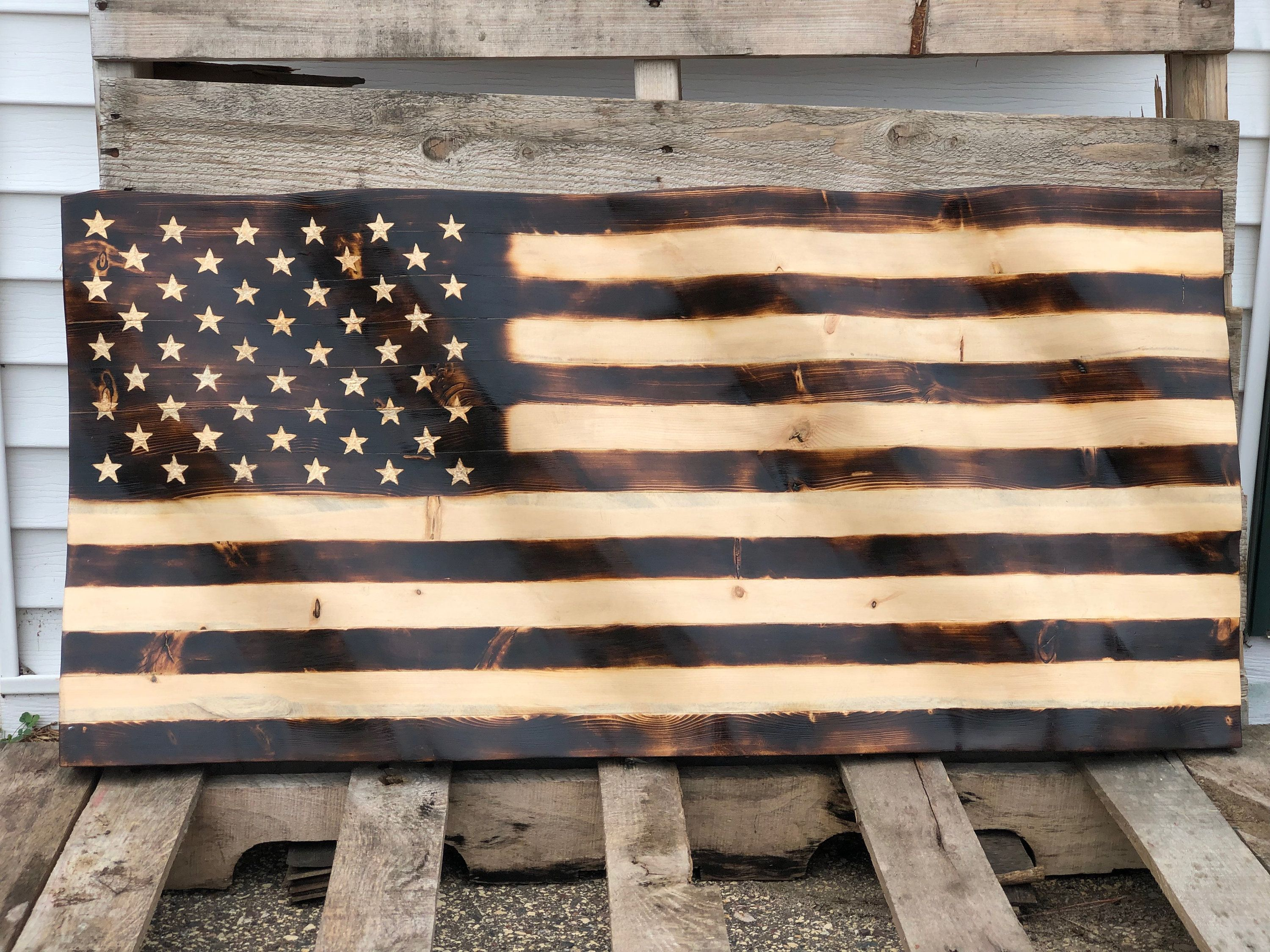 Distressed Wooden American Flag Wall Art Handcrafted Wood Military Support Flag United States Flag Wall Decor American Flag Wall Decor American Flag Wall Art