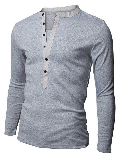 0db304c7 Doublju Mens Henley Neck Long Sleeve T-shirts GRAY (US-XS)   Clothes ...