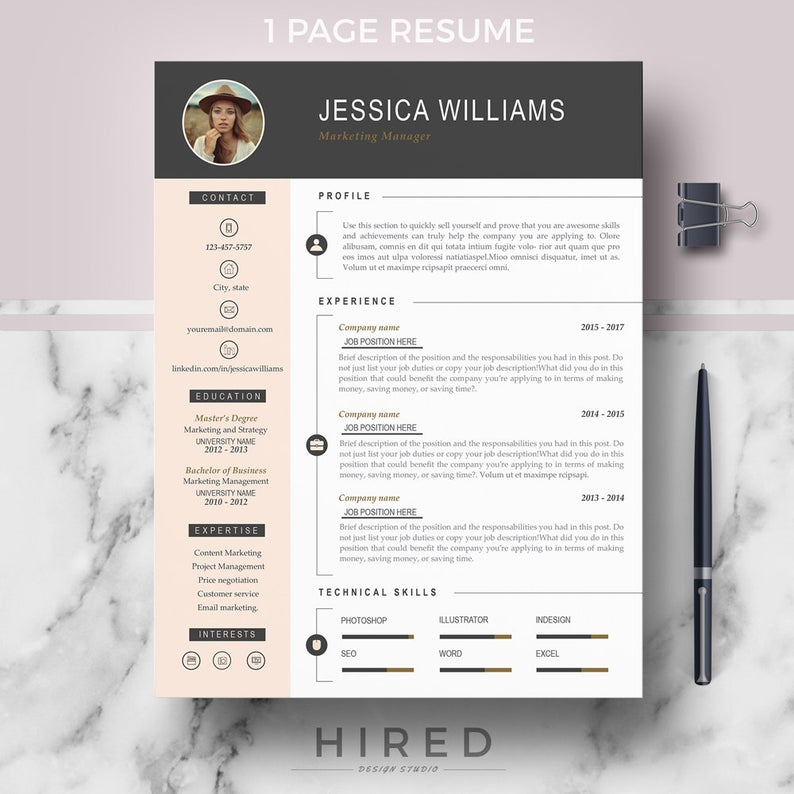 Resume Template With Photo Curriculum Vitae Cv Cover Letter Format References Free Resume Writing Guide Icons Instant Download Modern Resume Template Resume Template Professional Cv Template Professional