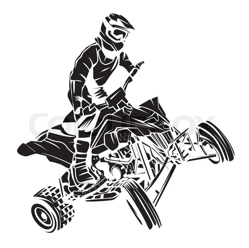 Stock Vector Of Atv Moto Rider Bike Drawing Atv Rider