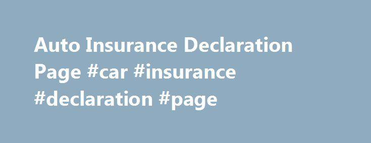 Auto Insurance Declaration Page Car Insurance Declaration Page