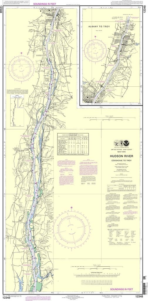 Noaa Nautical Chart 12348 Hudson River Sackie To Troy Is A Standard Navigation Used By Commercial And Recreational Mariners Alike