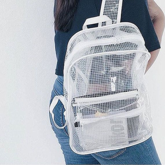 Clear Backpack Transparent Rucksack White Grid Vinyl Travel Fitness School  Bag   Bags. Style ♤ ❥ ⚜   Pinterest   Backpacks, Bags and Clear backpacks bebddae09c