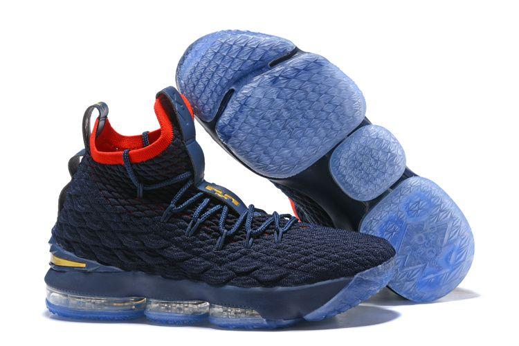 Retail Nike LeBron 15 Pride of Ohio Dark Blue Red Mens Sneakers Basketball  Shoes