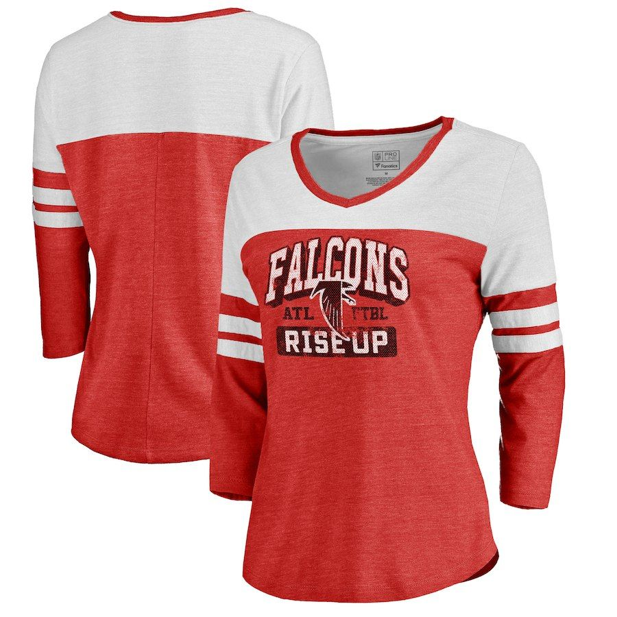 0c5131cd3fafb NFL Pro Line by Fanatics Branded Atlanta Falcons Women's Red Hometown  Collection Color Block 3/4 Sleeve Tri-Blend T-Shirt