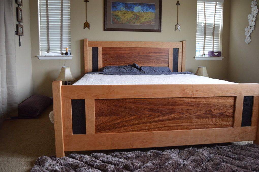 Solid Cherry Craftsman King Bed With Custom Bubinga And Wenge Panels Wooden Bed Design Craftsman Bedding Bed Furniture
